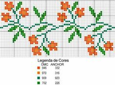 ponto cruz barrado flores cor laranja cross stitch flower