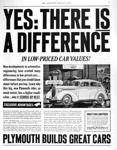 1938 Plymouth Deluxe Sedan Original Vintage Adver Ilrated In Black White Msrp Started At 645 F O B Detroit