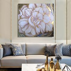 Gold flower, modern gold leaf art Acrylic painting by Dmitry King Art Floral, Art Feuille D'or, Deep Paintings, Grand Art, Gold Leaf Art, Painted Leaves, Texture Painting, Gold Flowers, Acrylic Painting Canvas
