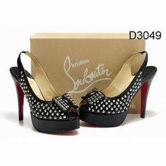 d7683db7b92a Black Christian Louboutin Clou Noeud 150mm Studded Slingbacks Red Sole Shoes  Black Christian Louboutin