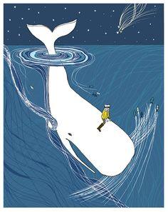 Whale nursery art. Whaler Rider print by sloeginfizz on Etsy