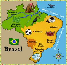 Brasil: I love this map of Brazil world thinking day Gs World, Brazil Art, Brazil Food, Zumba Kids, Little Passports, Culture Day, World Thinking Day, Thinking Maps, Brazil Travel