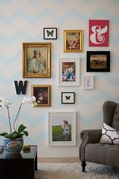 i love a photo collage...and the chevron design on the wall