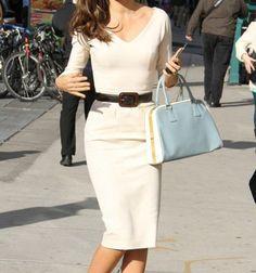 Elegant V-Neck Solid Color 3/4 Sleeve Bodycon White Dress For Women, WHITE in Dresses 2014 #lily