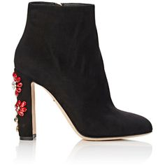 Dolce & Gabbana Women's Jeweled Ankle Boots ($1,445) ❤ liked on Polyvore featuring shoes, boots, ankle booties, ankle boot, black, short black boots, suede booties, ankle boots, high heel boots and black booties