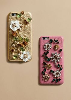 Dolce & Gabbana embellished iphone 6 cases in gold and pink