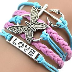 [CyberWeekSale]European Butterfly 18cm Women's Multicolor Leather ID Bracelet(1 Pc) – USD $ 1.99