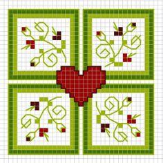 Vierkanten, hart en bloemen