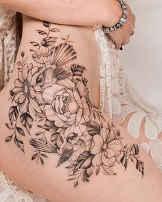 Latest Tattoos for Girls 2020 – Designs for life Hip Tattoos For Girls, Girl Spine Tattoos, Girl Finger Tattoos, Girl Thigh Tattoos, Floral Thigh Tattoos, Thigh Tattoo Designs, Chest Tattoos For Women, Shoulder Tattoos For Women, Flower Hip Tattoos