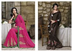 Marvelous resham work on pink chiffon saree with green color bhagalpuri blouse piece...  &...  Superb patches on brown color brasso material  pallu & net saree with velvet border patta