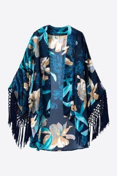 Blue Floral Printed Fringe Sleeved Kimono. Free 3-7 days expedited shipping to U.S. Free first class word wide shipping. Customer service: help@moooh.net