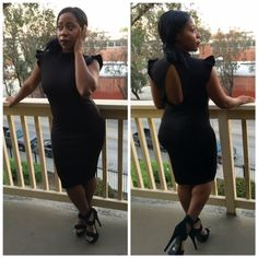Black ruffle sleeve dress hugs your curves. Available @ www.shoptotalchicness.com #fashion #chic #curvy #dresses #plussize #shoptotalchicness