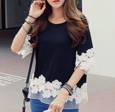 """Floral lace trim Round neck Half sleeves A little stretchy  Size: One Size (fits XS-M best) Bust: 39.37"""" Shoulder: 15.74"""" Sleeve: 13.77"""" Length: 26.77""""  Color: Black Material: Cotton Blend/Lace Style: Boho/Bohemian/Hippie  Shipping: Ships within 1-7 business days. Delivery takes ..."""