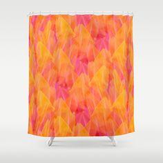 Tulip Fields #105 Shower Curtain by Gréta Thórsdóttir - $68.00  #floral #tulips #pattern #coral #abstract #Genus #Tulipa #Liliaceae #bathroom