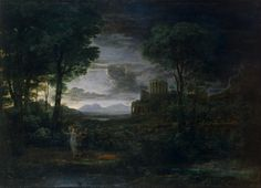 Claude Gellee, paintings - Landscape with Jacob Wrestling with the Angel