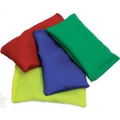 We would pass and throw beanbags in PE... and these were the colours of the teams on sports day. I was in the yellow team :)