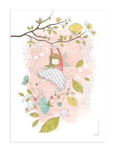 Impresión original arte niños Hola primavera por TamarNahirYanai