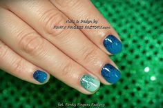 Gelish Blue and Mint Glitter Ombre nails by www.funkyfingersfactory.com