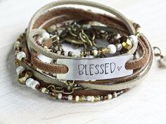 BLESSED LEATHER WRAP Stamped Bracelet Leather Multi Wrap Bracelet Beaded Boho Wrap Bracelet Brown Leather Bracelet Gratitude Quote Bracelet