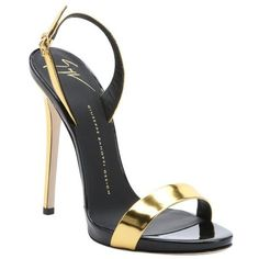 Giuseppe Zanotti Gold metallic leather 'Coline 110' slingback sandals (1.220 BRL) ❤ liked on Polyvore featuring shoes, sandals, gold, slingback sandals, leather sandals, high heel sandals, leather shoes and leather sole shoes