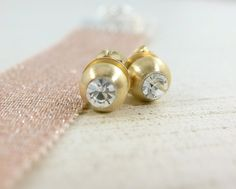 Crystal Rhinestone Matte Gold Studs  Small by PearlAmourJewels, $20.00