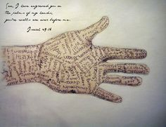See I have engraved you on the palms of my hands, you're walls are ever before me. Isaiah 49:16