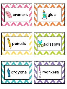 Chevron Classroom Supply Labels love these!