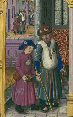 Pilgrims. Badges on hats, satchel around his neck, her fanny pack. She looks to be blind or disabled. He has on sandals with stirrup pants?
