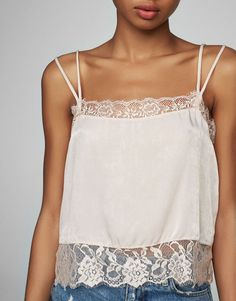 Glossy lace top - Blouses & shirts - Clothing - Woman - PULL&BEAR Ukraine