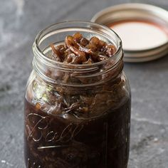 Caramelised onions with balsamic vinegar to store in the fridge.  Make 2 weeks before you need it.  INA PAARMAN.