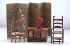 Living Room Miniature Doll House Furniture, Rustic Wooden Shabby Chic Doll House Home Decor, Miniature Japanese Screen Cabinet Foot Stool