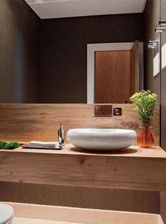 Mobile in legno top piano lavabo sospeso in castagno naturale 150x55x22