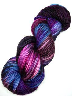 hand dyed yarn, hand painted yarn, handpainted yarn, superwash merino yarn, kettle dyed yarn, dk weight, single spun, pink purple blue plum by WeeChickadeeWoolery on Etsy https://www.etsy.com/listing/266110746/hand-dyed-yarn-hand-painted-yarn