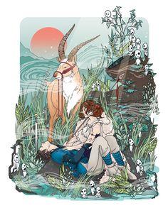 Illustration by Helen Mask Princess Mononoke Wallpaper, Princess Mononoke Tattoo, Mononoke Anime, Mononoke Cosplay, Studio Ghibli Art, Studio Ghibli Movies, Totoro, Anime Kunst, Anime Art