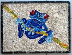Mosaic frog, made from smalti and marble.