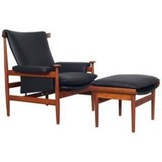 "Early Leather ""Bwana"" Lounge Chair and Ottoman by Finn Juhl"