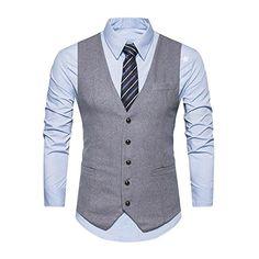 Demiawaking Élégant Homme Gilet Costume Chic Veste Slim Fit sans Manches  pour Business Mariage Casual Boutonnage 93533a892f2
