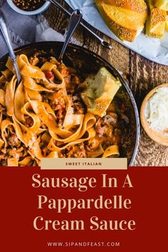 Sausage Pasta In An Easy Cream Sauce - Sip and Feast Amazing Italian comfort food recipe! Delicious sweet sausage cream sauce with pappardelle pasta. Delicious sweet sausage cream sauce with pappardelle pasta. Italian Sausage Pasta, Sweet Italian Sausage, Pasta Sauce With Sausage, Sweet Sausage Recipes, Seafood Recipes, Pasta Recipes, Cooking Recipes, Recipe Pasta, Italian Dishes
