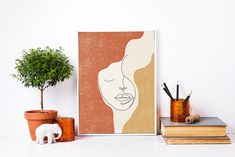 Abstract Face Line Art Print, Woman Face Line Drawing, Boho Wall Print, Woman Line Illustration,  Fine Line Poster, Earth Tone Artwork Face Line Drawing, Face Lines, Abstract Faces, Types Of Printer, Line Illustration, International Paper Sizes, Earth Tones, Woman Face, Digital Image