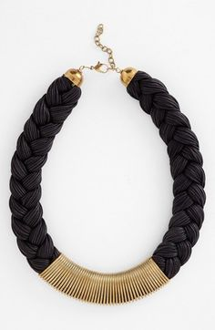 Black & gold perfection. Braided collar necklace.