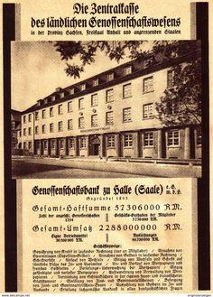 Original-Werbung/ Anzeige 1930 - GENOSSENSCHAFTSBANK ZU  HALLE AND ER SAALE/RÜCKSEITE LANDELEKTRIZITÄT - Ca.150 X 200 Mm - Werbung