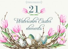 Easter watercolor floral elements Flowers Hand by MarynaHorbachova