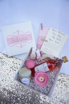 Personalized Bridal Party Proposals by BonChicWedding Pink Bachelorette Party, Diy Gift Baskets, Bridesmaid Proposal Box, Our Wedding, Wedding Stuff, Wedding Ideas, Bridal, Handmade Gifts, Weddings