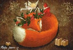 Vos met kaboutertje Illustration Art, Art Illustrations, Christmas Bulbs, Holiday Decor, Painting, Home Decor, Decoration Home, Christmas Light Bulbs, Room Decor