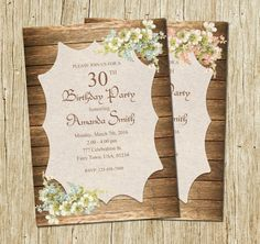 Hey, I found this really awesome Etsy listing at https://www.etsy.com/listing/274639562/birthday-invitation-for-women-rustic