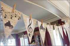 """Printable Banner """"Piano"""".  Downloads for decor, party supplies, group lessons, and party favors. #pianoteaching #piano"""