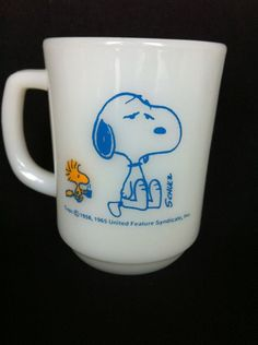 Vintage Fire King Anchor Hocking Snoopy Woodstock D Handle Ovenproof Coffee Mug