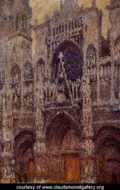 Rouen Cathedral, the Portal, Grey Weather - Claude Oscar Monet - www.claudemonetgallery.org