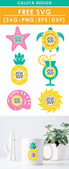 Free Summer Monogram Set SVG, PNG, EPS & DXF by Caluya Design. Compatible with Cameo Silhouette, Cricut and other major cutting machines!Perfect for your DIY projects, Giveaway and personalized gift. Perfect for Planner customization! Cricut Monogram, Free Monogram, Monogram Frame, Vinyl Crafts, Vinyl Projects, Diy Craft Projects, Free Printable Clip Art, How To Make Planner, Cricut Tutorials