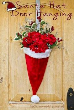 Santa Hat Door Hanging with Flowers by LiveLoveLaughMyLife